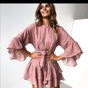 Solid Color Ruffled Mini Dress in Pink